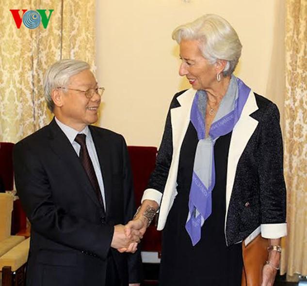 Tổng Bí thư Nguyễn Phú Trọng đã tiếp bà Christine Lagarde, Tổng Giám đốc Quỹ Tiền tệ Quốc tế (Ảnh: VOV)