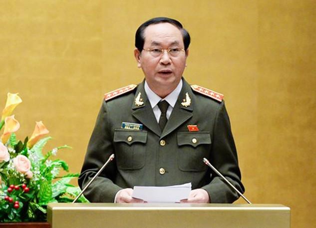 Đại tướng - Bộ trưởng Công an Trần Đại Quang là nhân sự duy nhất được Bộ Chính trị, Trung ương Đảng thống nhất giới thiệu để Quốc hội bầu làm Chủ tịch nước (ảnh: Quochoi.vn)