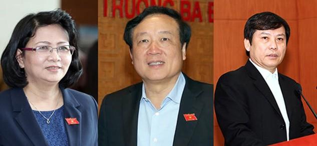 Lần lượt là bà Đặng Thị Ngọc Thịnh, ông Nguyễn Hòa Bình và ông Lê Minh Trí. Ảnh: Giang Huy.
