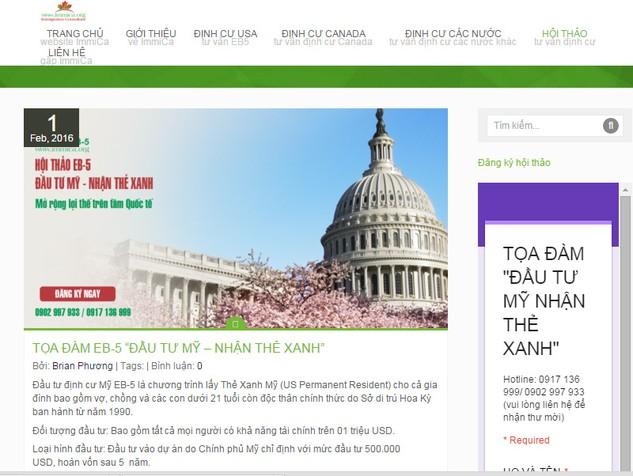 """Một website quảng cáo đầu tư để nhận """"thẻ xanh"""" định cư tại Mỹ."""