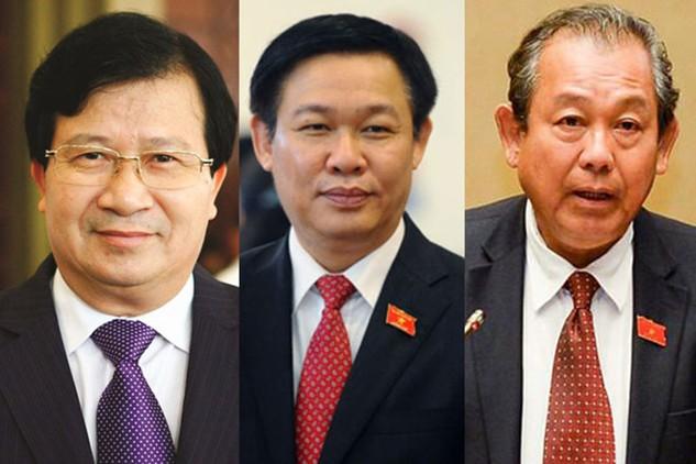 Ba ứng viên được Thủ tướng Chính phủ giới thiệu để Quốc hội bầu làm Phó Thủ tướng: ông Trịnh Đình Dũng, ông Vương Đình Huệ và ông Trương Hòa Bình