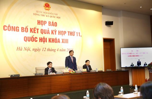 Tổng thư ký Quốc hội Nguyễn Hạnh Phúc chủ trì họp báo công bố kết quả Kỳ họp thứ 11. Ảnh: Lê Tiên