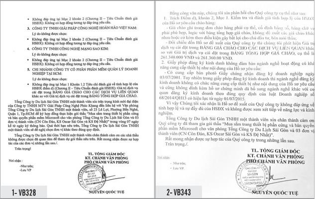 Lý do Saigontourist loại nhà thầu được đưa ra trong thông báo kết quả lựa chọn nhà thầu và văn bản trả lời kiến nghị nhà thầu