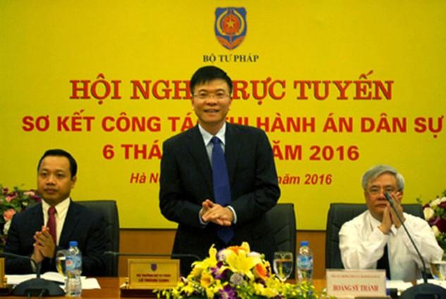 Bộ trưởng Bộ Tư pháp Lê Thành Long chủ trì Hội nghị. Ảnh: VGP/Nguyễn Hoàng