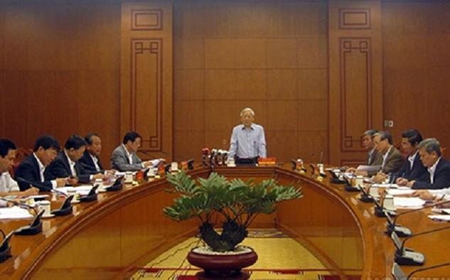 Tổng bí thư Nguyễn Phú Trọng chủ trì cuộc họp của Ban Chỉ đạo Trung ương về phòng, chống tham nhũng - Ảnh: Noichinh.vn