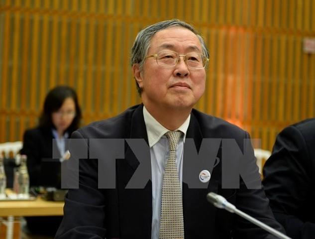Thống đốc PBOC Chu Tiểu Xuyên trong một hội nghị ở thủ đô Paris, Pháp ngày 31/3. (Nguồn: AFP/TTXVN)