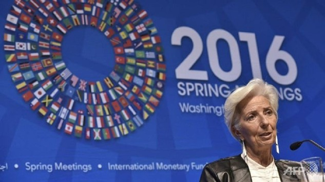 Giám đốc IMF Christine Lagarde phát biểu tại cuộc họp báo trong kỳ họp mùa xuân của IMF và WB ở Washington (Mỹ) - Ảnh: AFP