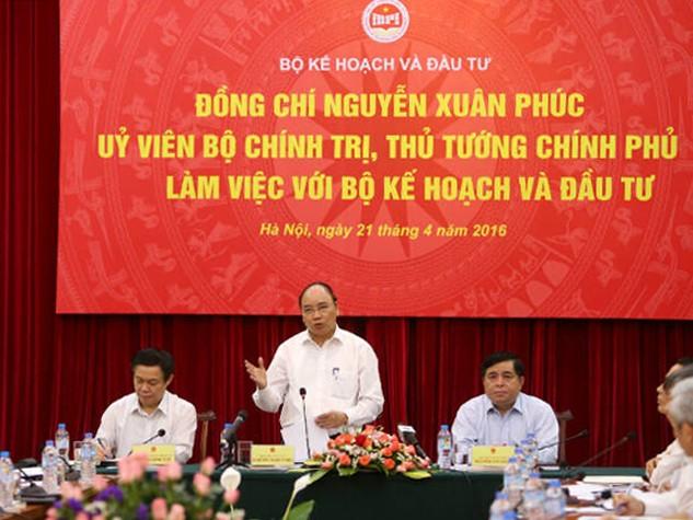 Thủ tướng Nguyễn Xuân Phúc làm việc với Bộ Kế hoạch và Đầu tư