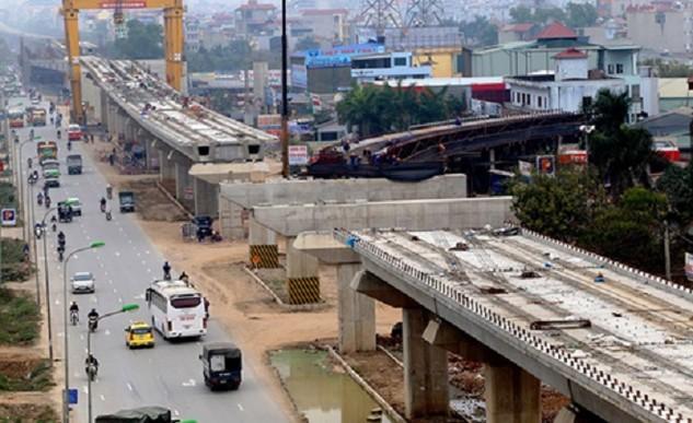 Tuyến đường sắt Cát Linh - Hà Đông vẫn còn dang dở nhiều hạng mục. Ảnh: Bá Đô.