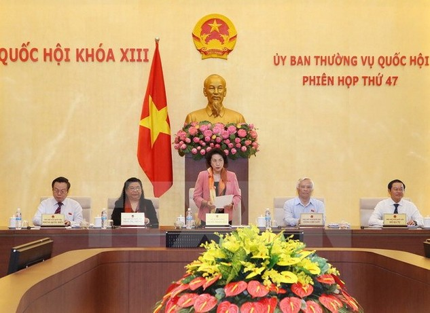 Chủ tịch Quốc hội Nguyễn Thị Kim Ngân phát biểu khai mạc Phiên họp lần thứ 47 của Ủy ban Thường vụ Quốc hội khóa XIII. (Ảnh: Trọng Đức/TTXVN)