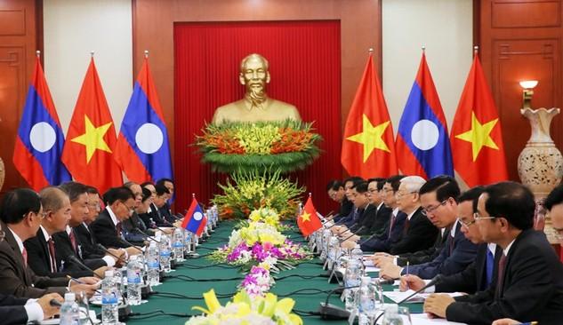 Tổng Bí thư Nguyễn Phú Trọng hội đàm với Tổng Bí thư, Chủ tịch nước Lào Bounnhang Vorachit (Ảnh: Hải Minh - VGP)