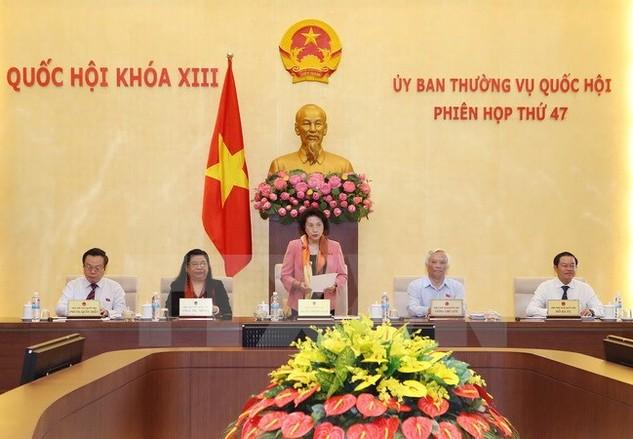 Chủ tịch Quốc hội Nguyễn Thị Kim Ngân chủ trì và phát biểu khai mạc Phiên họp lần thứ 47 của Ủy ban Thường vụ Quốc hội khóa XIII. Ảnh: Trọng Đức/TTXVN