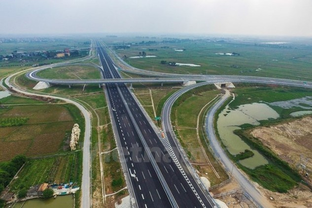 Dự án đường cao tốc Hà Nội-Hải Phòng nhìn từ trên cao.(Ảnh: Minh Sơn/Vietnam+)