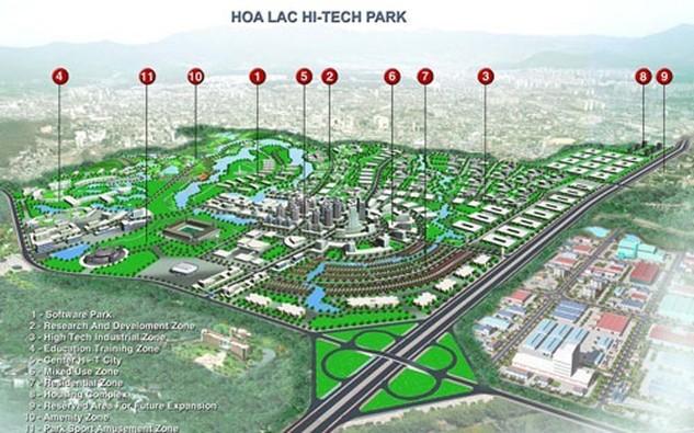 Khu công nghệ cao Hòa Lạc được xây dựng trên diện tích 1,586 ha, với 8 khu chức năng chính.