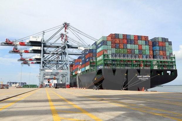 Bốc dỡ hàng tại cảng Quốc tế Cái Mép (Bà Rịa-Vũng Tàu). (Ảnh: Đoàn Mạnh Dương/TTXVN)