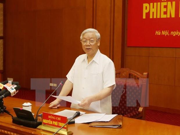 Tổng Bí thư Nguyễn Phú Trọng phát biểu tại Phiên họp. (Ảnh: Trí Dũng/TTXVN)