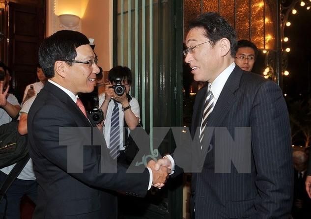 Phó Thủ tướng, Bộ trưởng Bộ Ngoại giao Phạm Bình Minh và Bộ trưởng Ngoại giao Nhật Bản, ông Fumio Kishida. (Ảnh: Nguyễn Khang/TTXVN)