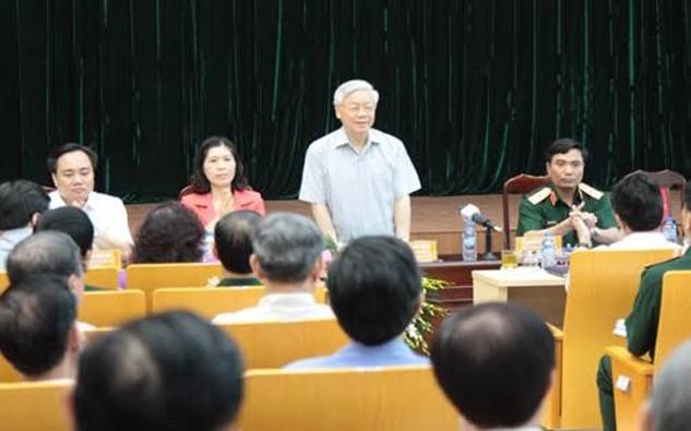 Tổng bí thư tại buổi tiếp xúc cử tri Quận Ba Đình (Hà Nội) sáng 6/5/2016.