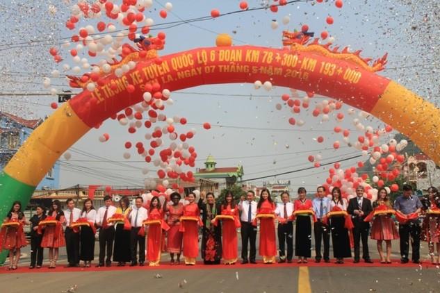 Tuyến QL6 đoạn Km78+300 - Km193+000 trên địa phận hai tỉnh Hòa Bình và Sơn La thuộc Dự án Quản lý tài sản đường bộ Việt Nam được thông xe kỹ thuật ngày 7/5