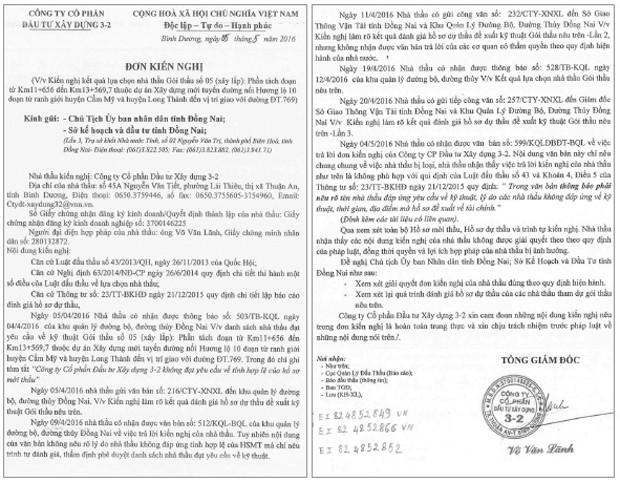 Không đồng tình với câu trả lời của bên mời thầu, ngày 5/5/2016, nhà thầu tiếp tục gửi kiến nghị đến các cơ quan chức năng tỉnh Đồng Nai về Gói thầu số 05