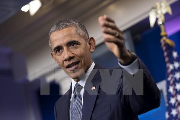 Tổng thống Mỹ Barack Obama phát biểu trong cuộc họp báo ở thủ đô Washington. (Nguồn: EPA/TTXVN)