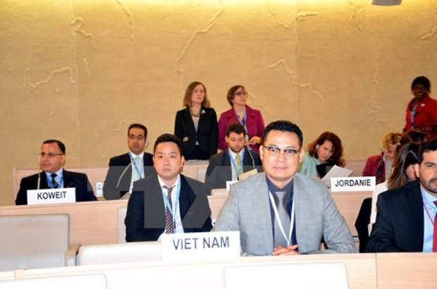 Đại sứ Nguyễn Trung Thành tại một phiên họp Hội đồng Nhân quyền. Ảnh:TTXVN.