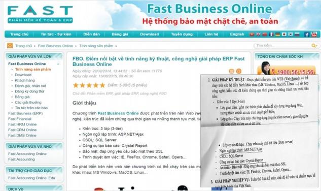 Tính năng kỹ thuật phần mềm kế toán Fast Business Online của Công ty Cổ phần Phần mềm Quản lý Doanh nghiệp (FAST) có sự trùng hợp với Phần giải pháp kỹ thuật nêu trong HSYC của PV Gas