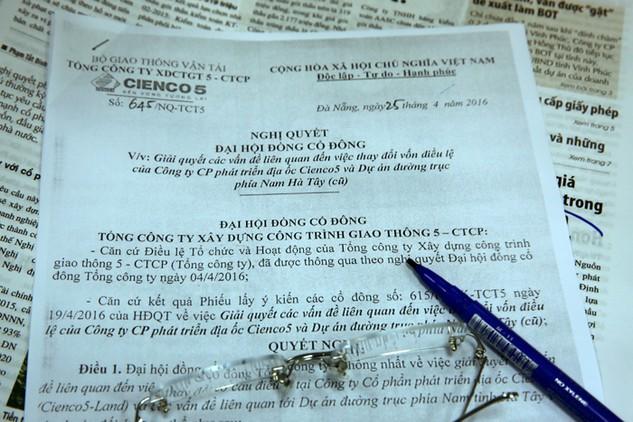 Nghị quyết số 645/NQ-TCT5 có nội dung xem xét trách nhiệm pháp lý của Cienco 5 và những người có liên quan trong việc chuyển nhượng vốn của DNDA. Ảnh: Nhã Chi