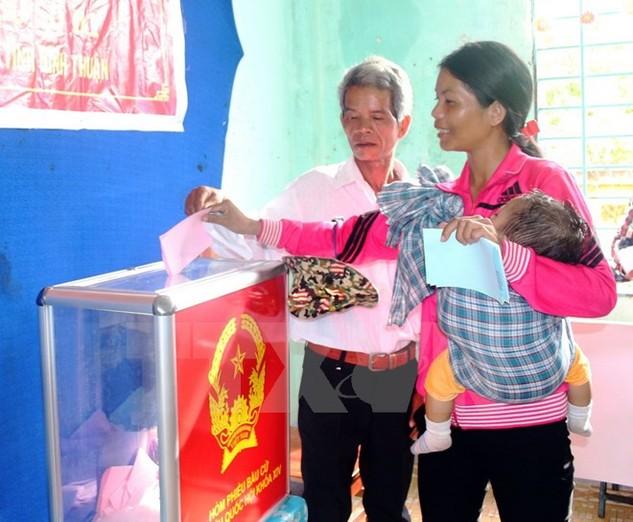 Cử tri đồng bào Raglai tỉnh Ninh Thuận bỏ phiếu bầu đại biểu Quốc hội và Hội đồng Nhân dân các cấp nhiệm kỳ 2016-2021. (Ảnh: Đức Ánh/TTXVN)