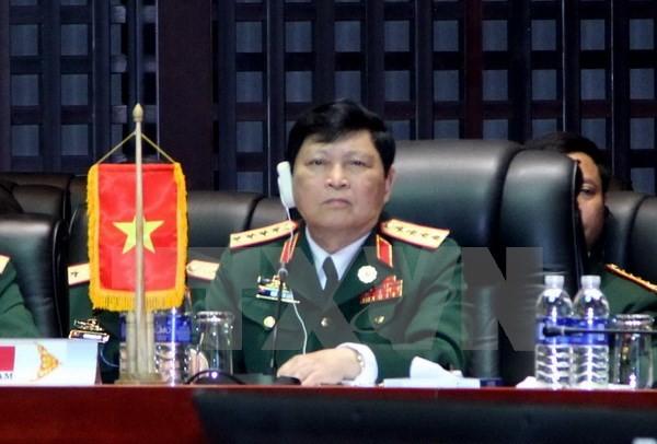 Bộ trưởng Quốc phòng, Đại tướng Ngô Xuân Lịch tại hội nghị. (Ảnh: Nguyễn Chiến/TTXVN)