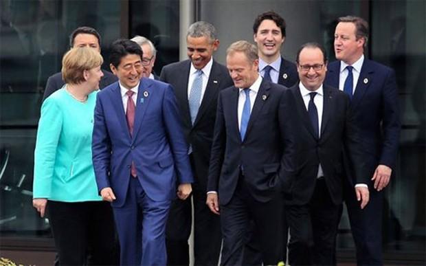 Các nhà lãnh đạo G7 tại hội nghị thượng đỉnh ở Ise-Shima, Nhật Bản ngày 25/5 - Ảnh: Asahi Shimbun/Getty.