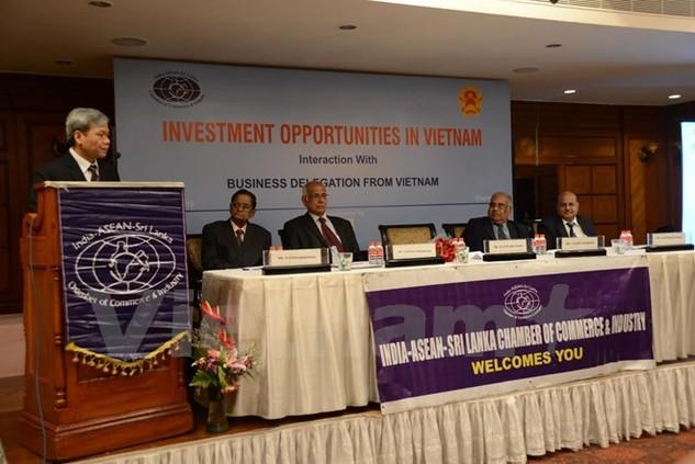 Đại sứ Tôn Sinh Thành phát biểu tại Hội nghị xúc tiến đầu tư tại Chennai. (Ảnh: Huy Bình/Vietnam+)