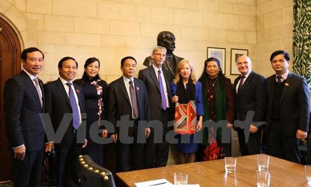 Phó Chủ tịch Quốc hội Tòng Thị Phóng chụp ảnh lưu niệm với Phó Chủ tịch Hạ viện Anh Eleanor Laing (váy xanh) và Chủ tịch Nhóm nghị sỹ liên đảng Anh quan tâm tới Việt Nam George Howard (đứng giữa). (Ảnh: Đỗ Sinh/Vietnam+)