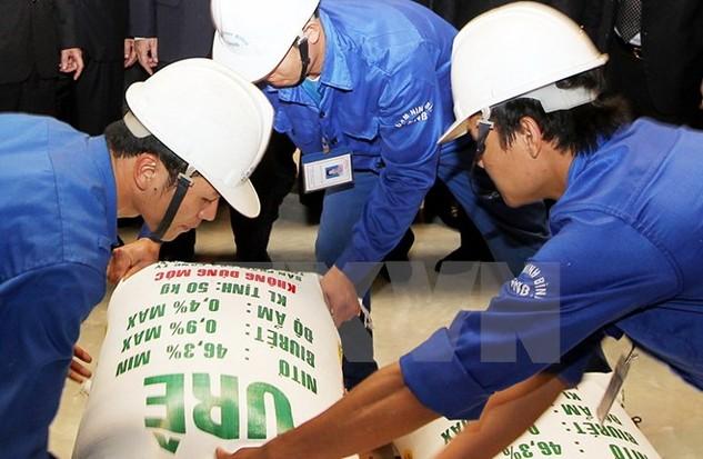 Sản phẩm ure đầu tiên của nhà máy đạm Ninh Bình. (Ảnh: Đức Tám/TTXVN)