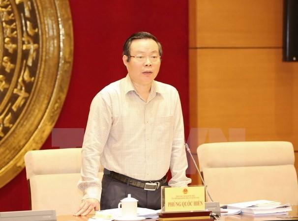 Phó Chủ tịch Quốc hội Phùng Quốc Hiển phát biểu tại phiên họp. (Ảnh: Phương Hoa/TTXVN)