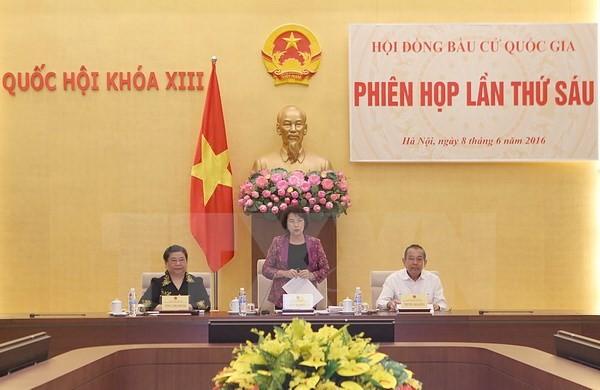 Chủ tịch Quốc hội, Chủ tịch Hội đồng bầu cử Quốc gia Nguyễn Thị Kim Ngân chủ trì Phiên họp thứ sáu của Hội đồng Bầu cử Quốc gia. (Ảnh: Trọng Đức/TTXVN)