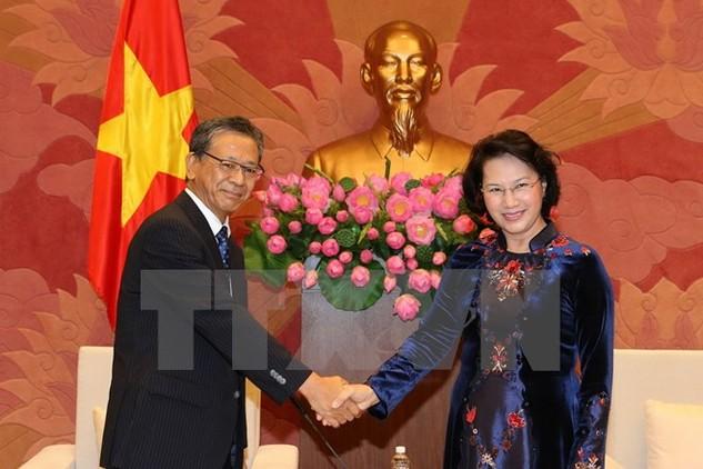 Chủ tịch Quốc hội Nguyễn Thị Kim Ngân tiếp Đại sứ đặc mệnh toàn quyền Nhật Bản tại Việt Nam Fukaka Hiroshi đến chào xã giao. (Ảnh: Trọng Đức/TTXVN)