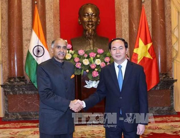 Chủ tịch nước Trần Đại Quang tiếp Đại sứ Ấn Độ Parvathaneni Harish. Ảnh: TTXVN