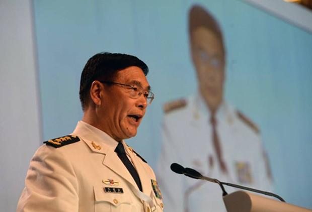 Đô đốc Tôn Kiến Quốc, đại diện của Trung Quốc tại Shangri-la vừa qua, gửi thông điệp tới cả người dân của nước này rằng quân đội sẽ bảo vệ lợi ích quốc gia. Ảnh:AFP
