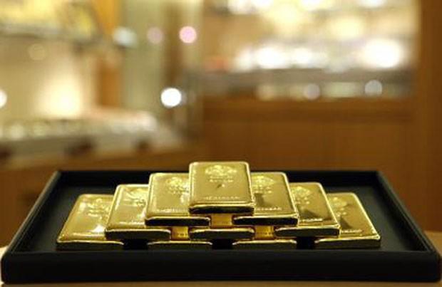 Mỗi ounce vàng tăng mạnh trong phiên hôm qua. Ảnh: Bloomberg.