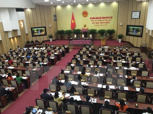 Các đại biểu tham dự kỳ họp thứ nhất HĐND thành phố Hà Nội. (Ảnh: Nguyễn Văn Cảnh/TTXVN)