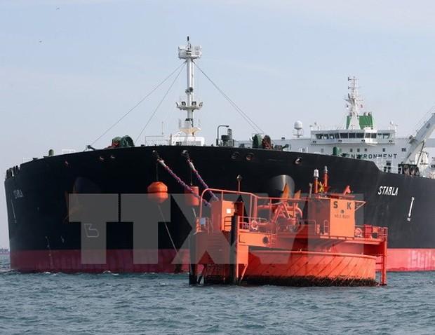 Tàu chở dầu Starla của Iran trên đường tới Nhà máy lọc dầu lớn nhất Hàn Quốc SK Energy tại Ulasan. (Nguồn: EPA/TTXVN)