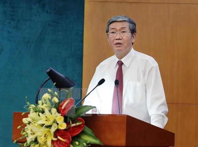 Ông Đinh Thế Huynh, Ủy viên Bộ Chính trị, Thường trực Ban Bí thư phát biểu tại hội nghị. (Ảnh: An Đăng/TTXVN)