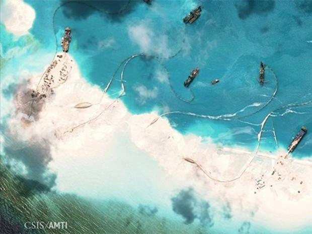 Đá Subi thuộc quần đảo Trường Sa của Việt Nam bị Trung Quốc cải tạo trái phép. Ảnh: CSIS