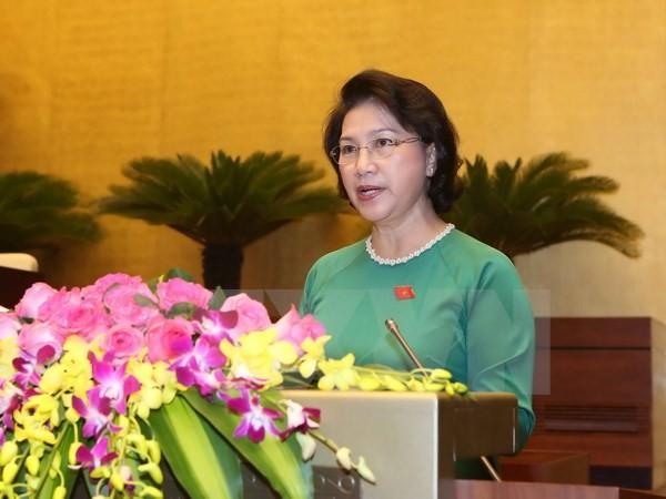 Chủ tịch Quốc hội Nguyễn Thị Kim Ngân trình bày Tờ trình về dự kiến nhân sự Chủ tịch Quốc hội, Phó Chủ tịch Quốc hội, Ủy viên Ủy ban thường vụ Quốc hội. (Ảnh: Phương Hoa/TTXVN)