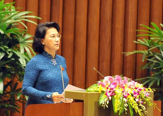 Bà Nguyễn Thị Kim Ngân, Chủ tịch Quốc hội khoá XIII được giới thiệu bầu giữ chức Chủ tịch Quốc hội khoá XIV. Ảnh: Việt Dũng