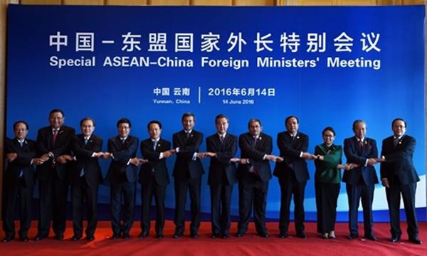 Hội nghị đặc biệt ngoại trưởngASEAN -Trung Quốc được tổ chứcngày 14/6 tại Côn Minh, Trung Quốc. Ảnh:AFP