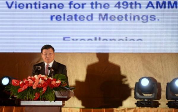 Thủ tướng Lào Thongloun Sisoulith phát biểu tại Hội nghị Ngoại trưởng ASEAN. Ảnh: AFP