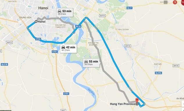 Tuyến đường liên tỉnh Hà Nội-Hưng Yên chạy song song với Quốc lộ 5. (Ảnh: Google Map)