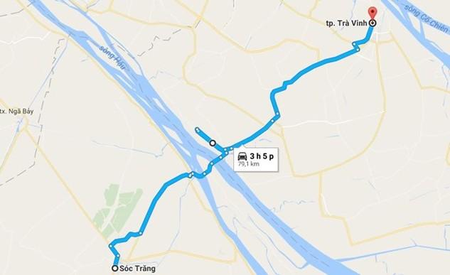 Cầu Đại Ngãi bắc qua sông Hậu nối hai tỉnh Sóc Trăng và Trà Vinh. (Ảnh: Google Map)